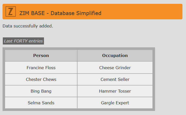 ZIM Base - HTML Form - easy MySQLi Example